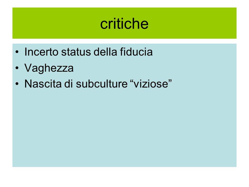 critiche Incerto status della fiducia Vaghezza