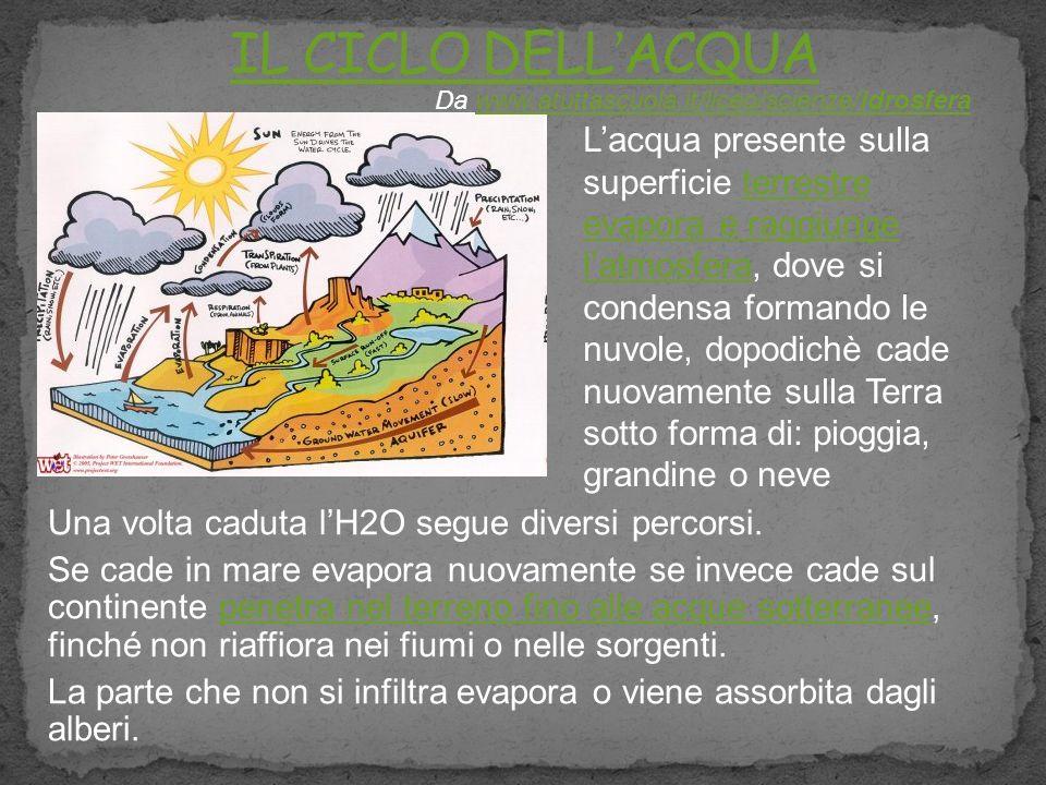 IL CICLO DELL'ACQUA Da www.atuttascuola.it/liceo/scienze/idrosfera.