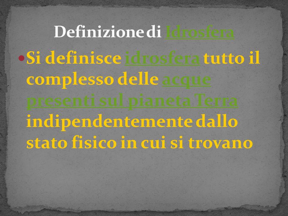 Definizione di Idrosfera