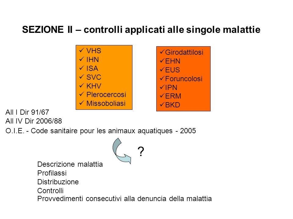 SEZIONE II – controlli applicati alle singole malattie VHS
