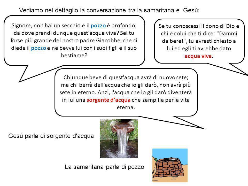 Vediamo nel dettaglio la conversazione tra la samaritana e Gesù: