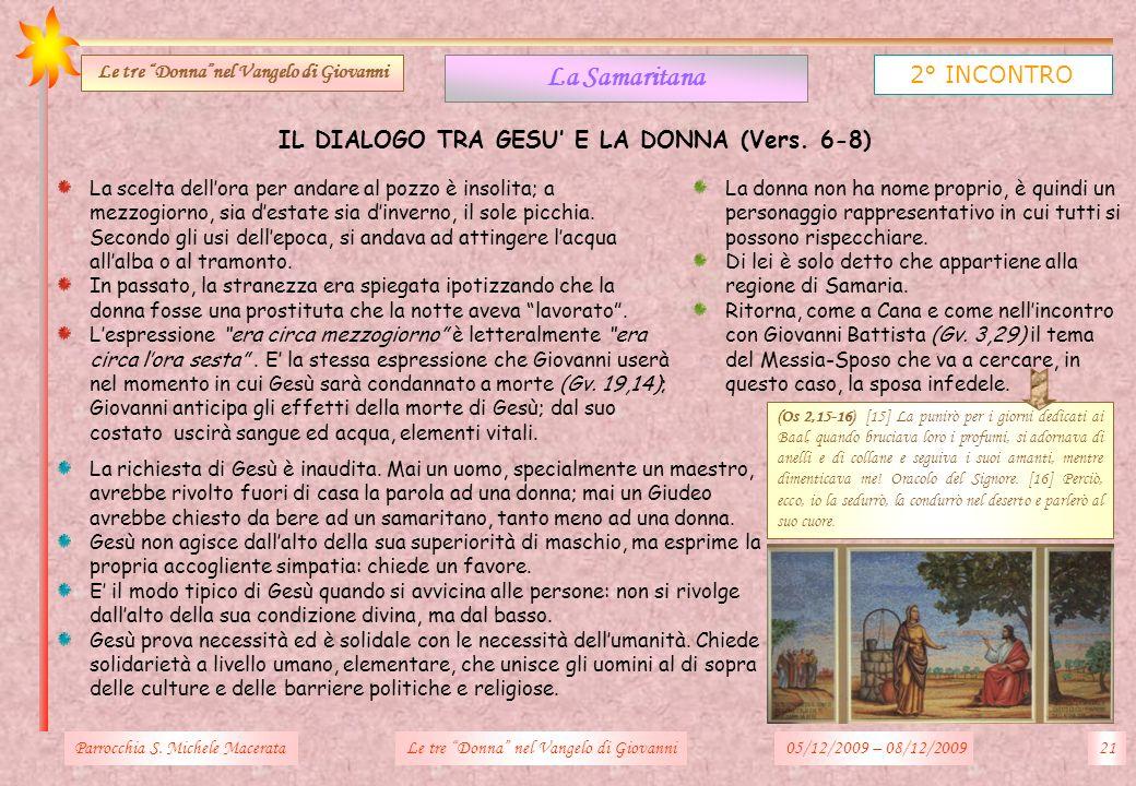 La Samaritana 2° INCONTRO IL DIALOGO TRA GESU' E LA DONNA (Vers. 6-8)