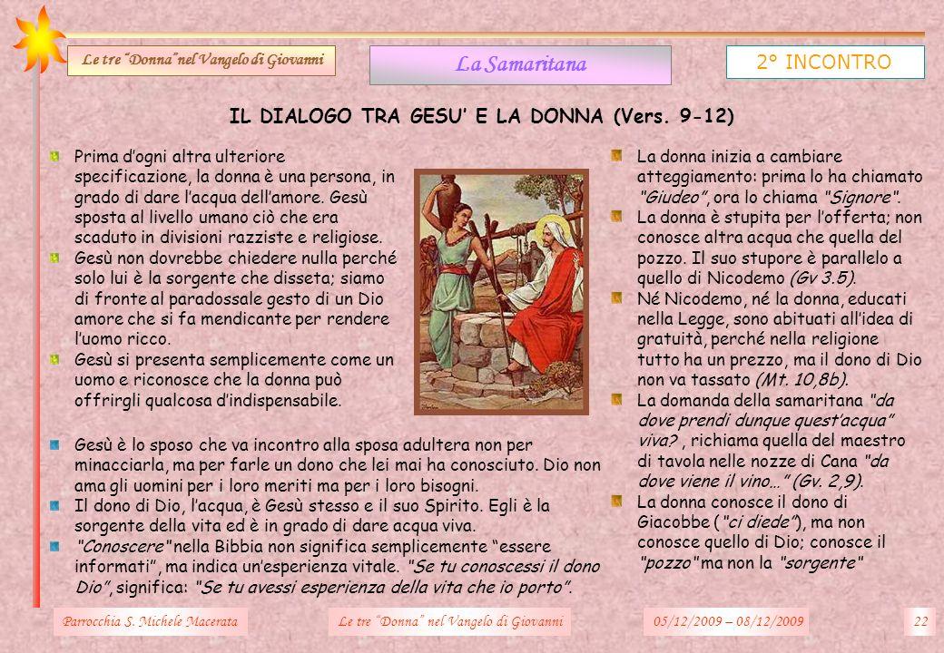 La Samaritana 2° INCONTRO IL DIALOGO TRA GESU' E LA DONNA (Vers. 9-12)