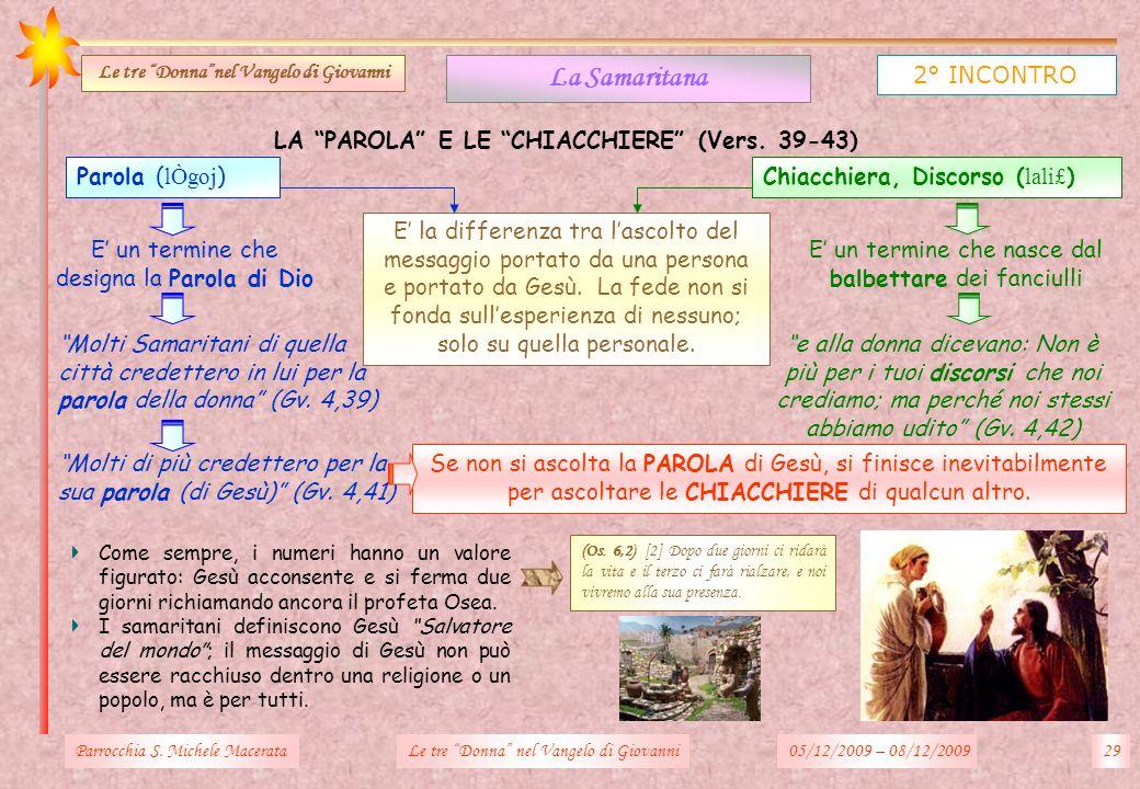 La Samaritana 2° INCONTRO LA PAROLA E LE CHIACCHIERE (Vers. 39-43)
