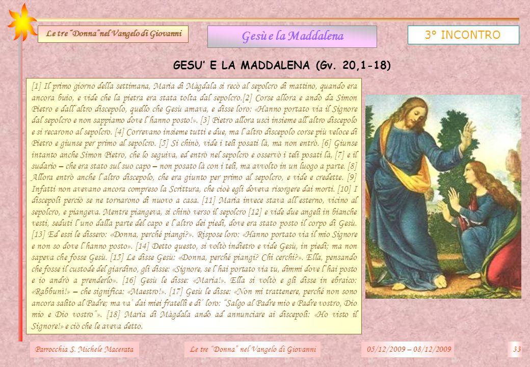 Gesù e la Maddalena 3° INCONTRO GESU' E LA MADDALENA (Gv. 20,1-18)
