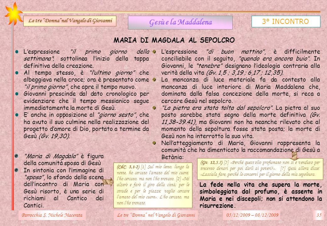 Le tre Donna nel Vangelo di Giovanni MARIA DI MAGDALA AL SEPOLCRO