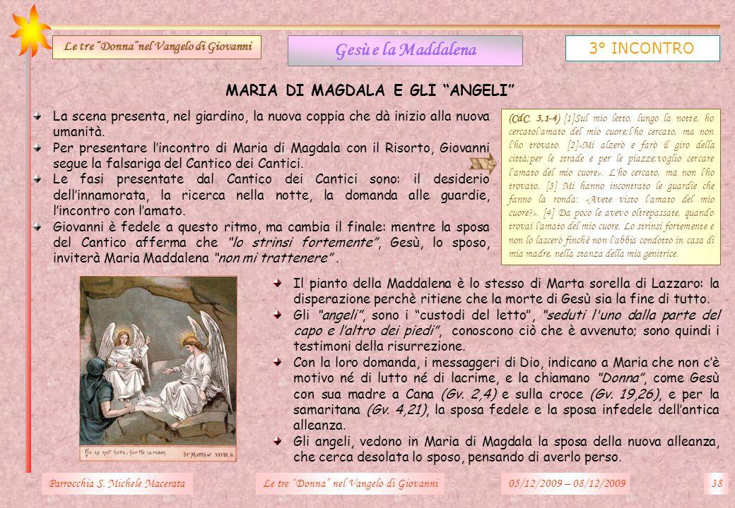 Le tre Donna nel Vangelo di Giovanni MARIA DI MAGDALA E GLI ANGELI