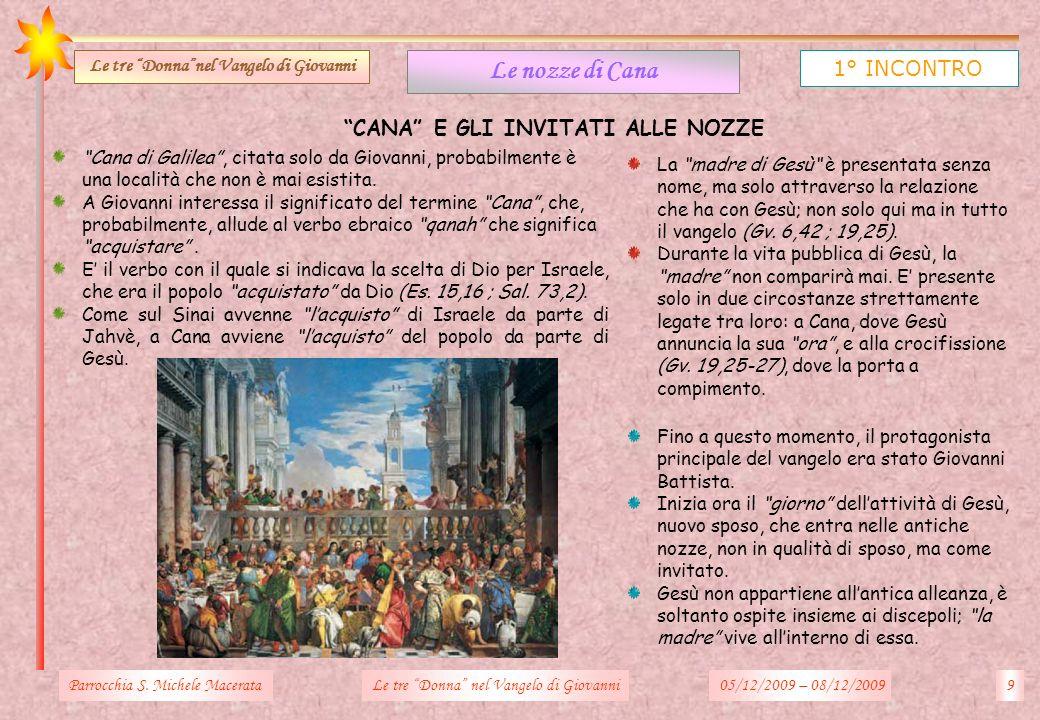 Le tre Donna nel Vangelo di Giovanni CANA E GLI INVITATI ALLE NOZZE