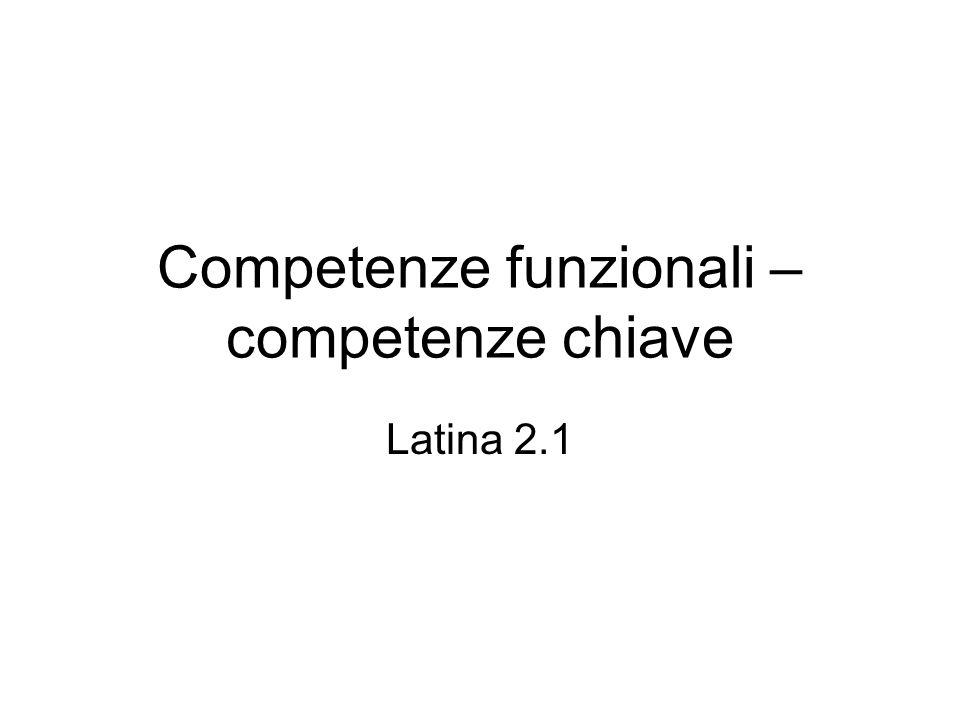 Competenze funzionali – competenze chiave