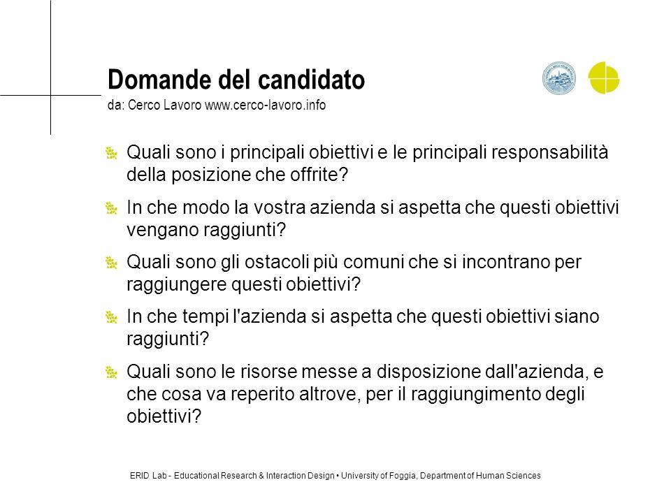 Domande del candidato da: Cerco Lavoro www.cerco-lavoro.info