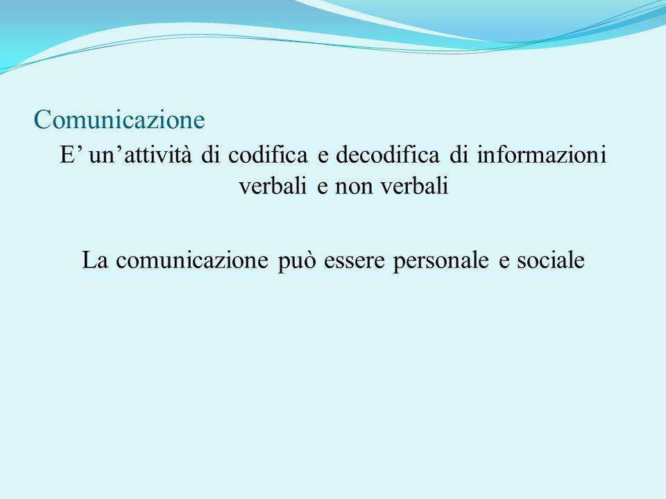Comunicazione E' un'attività di codifica e decodifica di informazioni verbali e non verbali La comunicazione può essere personale e sociale