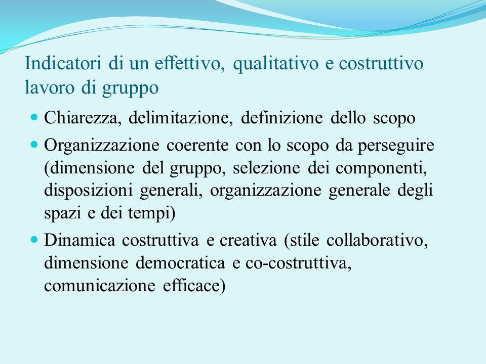 Indicatori di un effettivo, qualitativo e costruttivo lavoro di gruppo