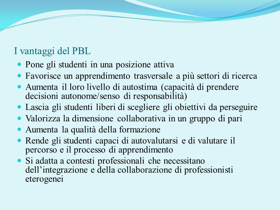 I vantaggi del PBL Pone gli studenti in una posizione attiva
