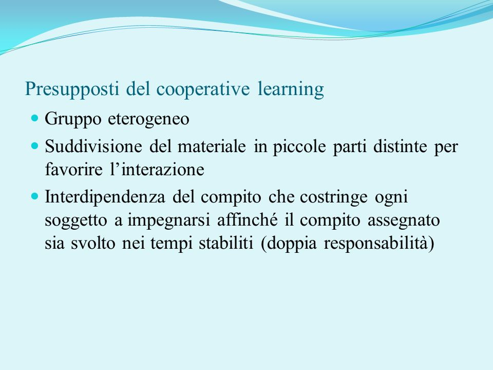 Presupposti del cooperative learning