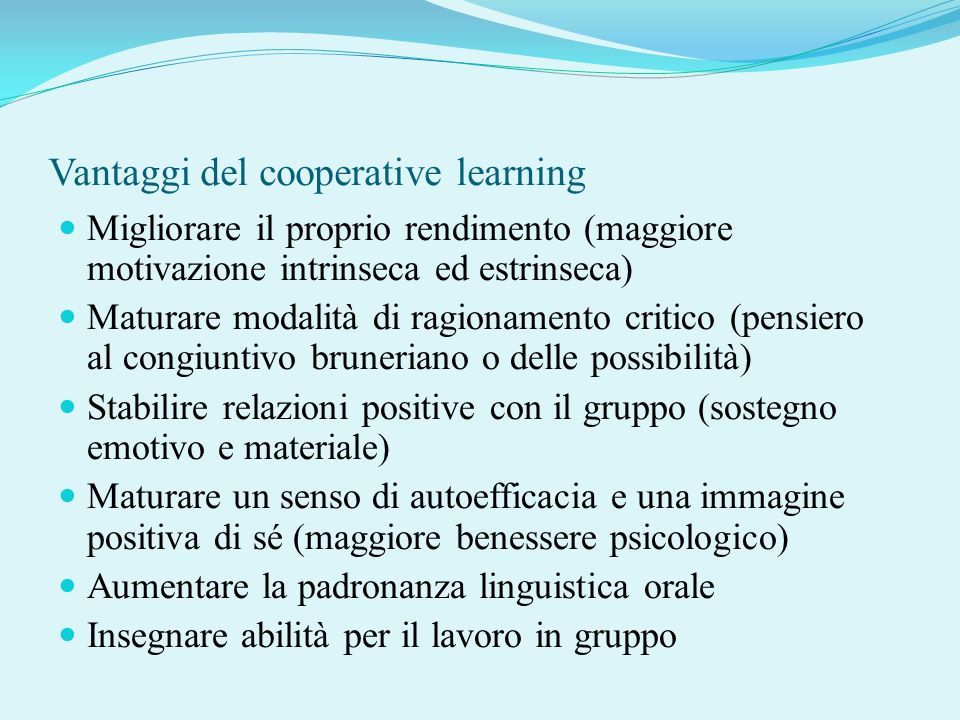 Vantaggi del cooperative learning