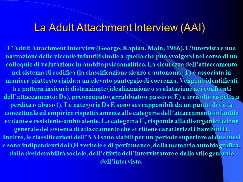 La Adult Attachment Interview (AAI)