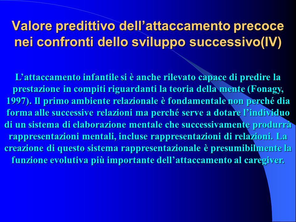 Valore predittivo dell'attaccamento precoce nei confronti dello sviluppo successivo(IV)