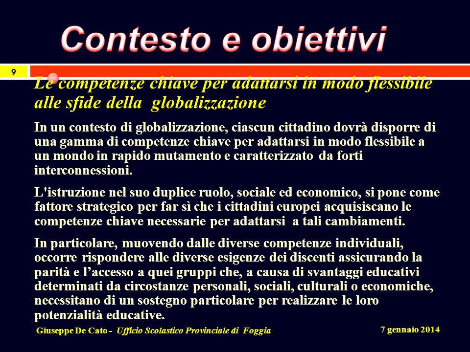 Contesto e obiettivi Le competenze chiave per adattarsi in modo flessibile alle sfide della globalizzazione.