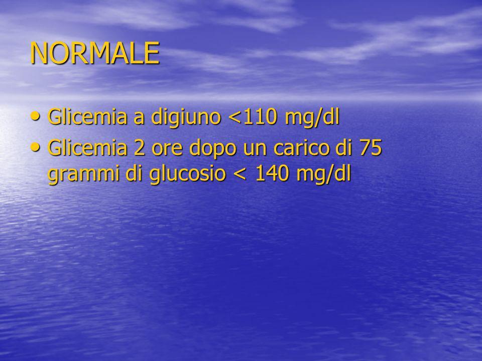 NORMALE Glicemia a digiuno <110 mg/dl
