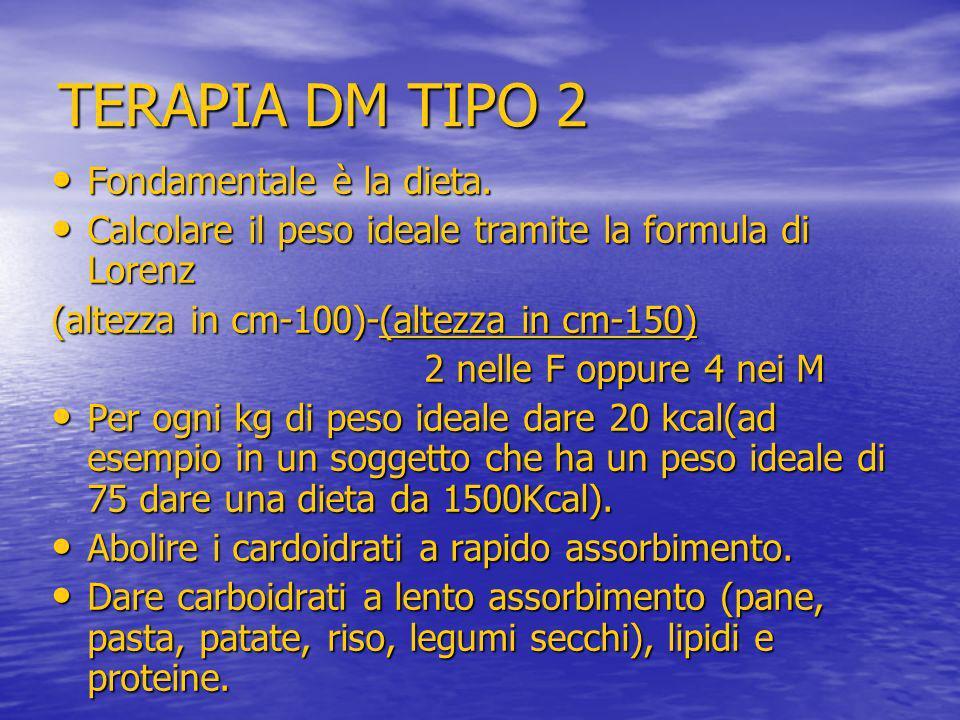TERAPIA DM TIPO 2 Fondamentale è la dieta.