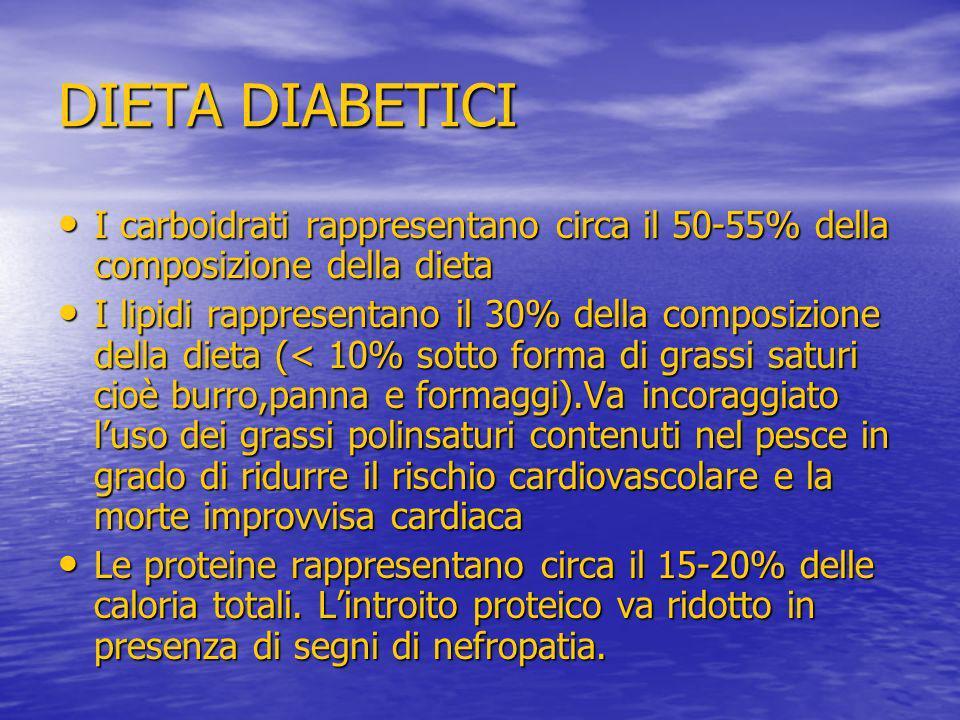 DIETA DIABETICI I carboidrati rappresentano circa il 50-55% della composizione della dieta.