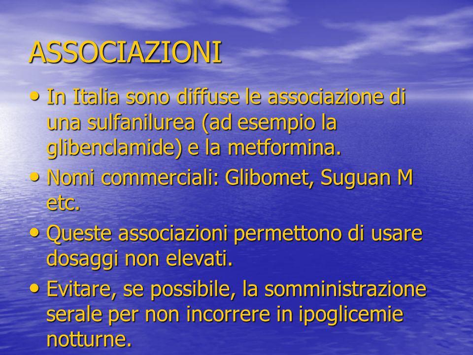 ASSOCIAZIONI In Italia sono diffuse le associazione di una sulfanilurea (ad esempio la glibenclamide) e la metformina.