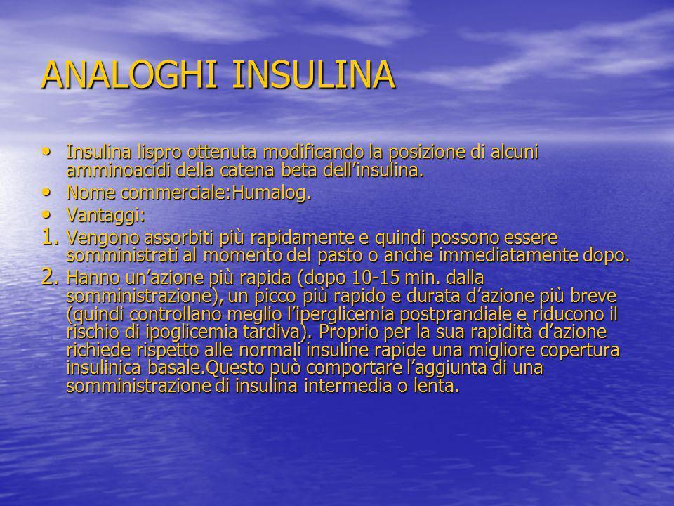 ANALOGHI INSULINA Insulina lispro ottenuta modificando la posizione di alcuni amminoacidi della catena beta dell'insulina.