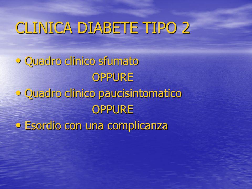 CLINICA DIABETE TIPO 2 Quadro clinico sfumato OPPURE