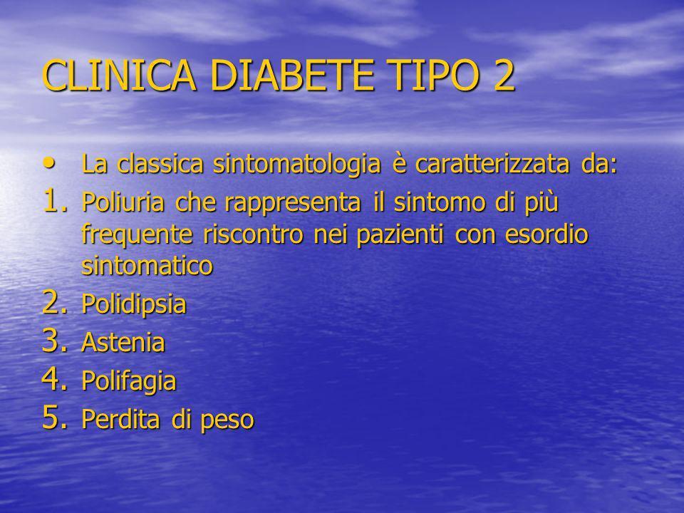 CLINICA DIABETE TIPO 2 La classica sintomatologia è caratterizzata da: