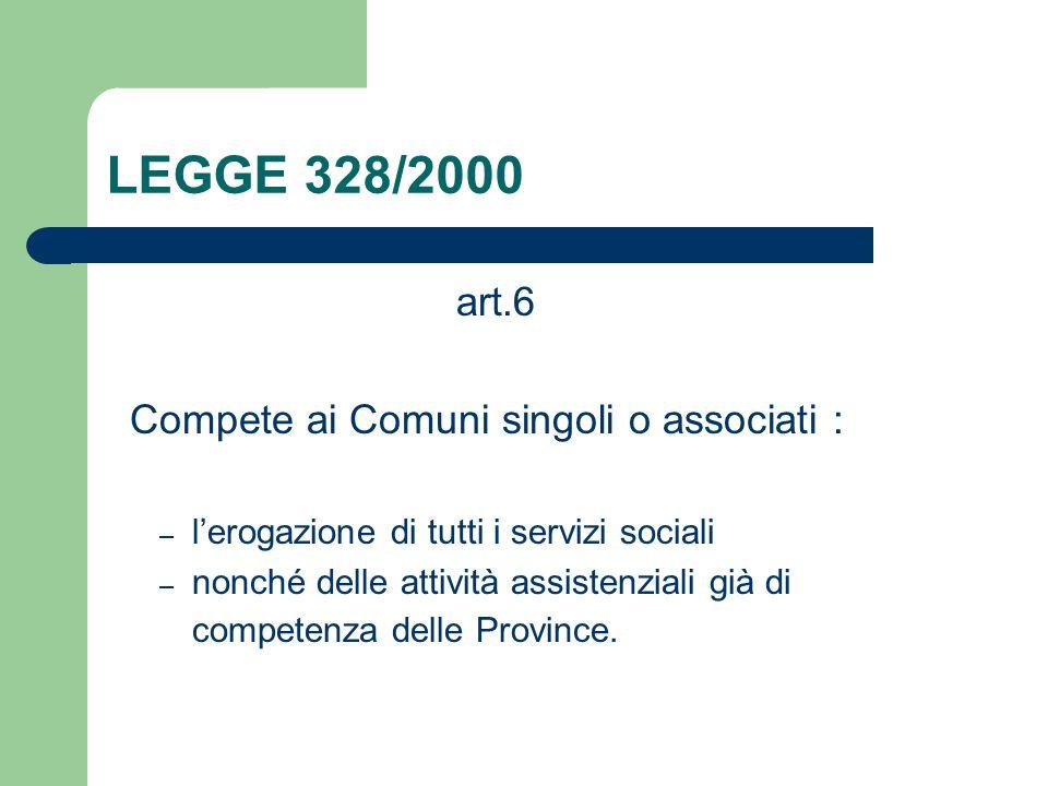 LEGGE 328/2000 art.6 Compete ai Comuni singoli o associati :