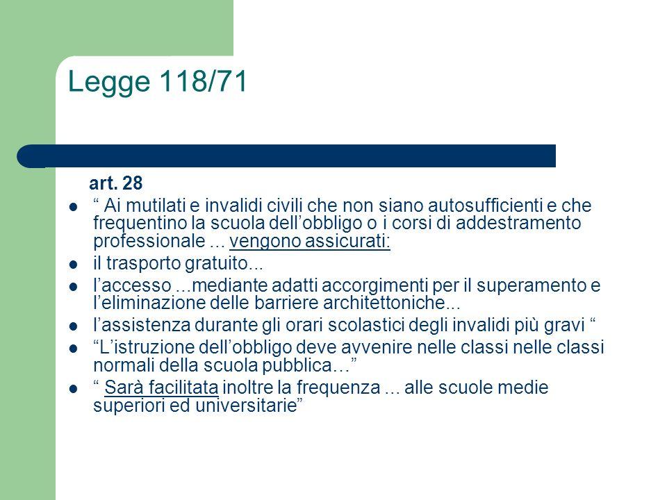 Legge 118/71 art. 28.