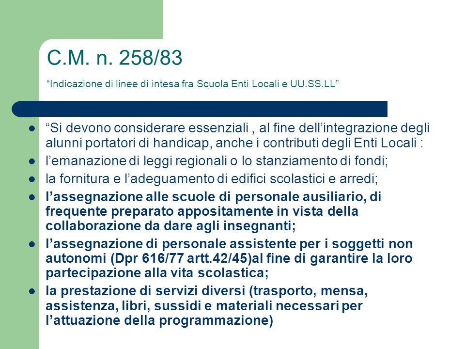 C.M. n. 258/83 Indicazione di linee di intesa fra Scuola Enti Locali e UU.SS.LL