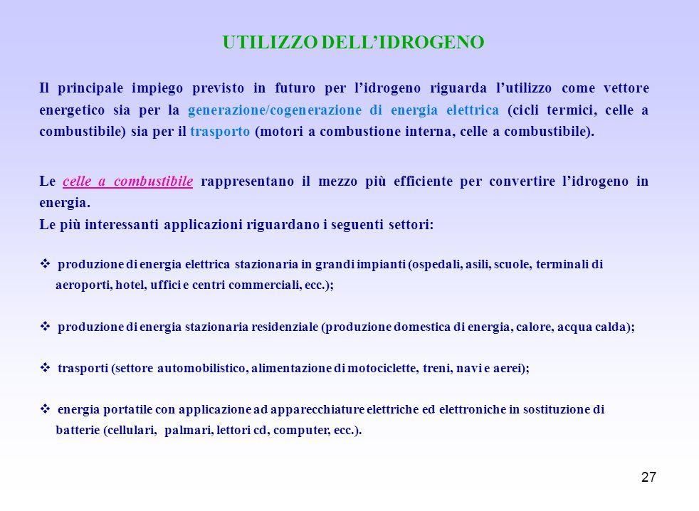 UTILIZZO DELL'IDROGENO
