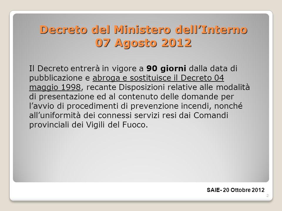 Decreto del Ministero dell'Interno 07 Agosto 2012