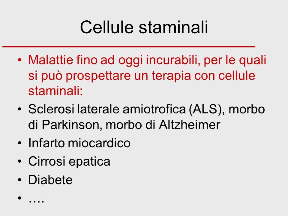 Cellule staminali Malattie fino ad oggi incurabili, per le quali si può prospettare un terapia con cellule staminali: