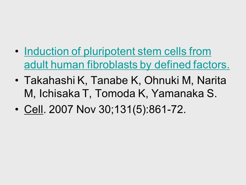 Induction of pluripotent stem cells from adult human fibroblasts by defined factors.