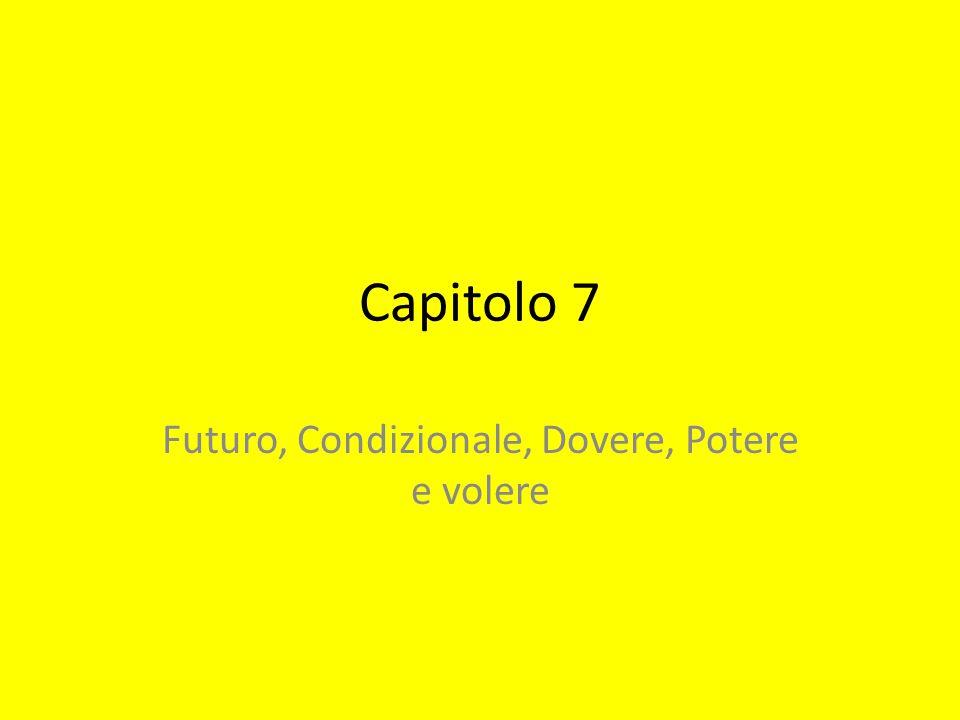 Futuro, Condizionale, Dovere, Potere e volere
