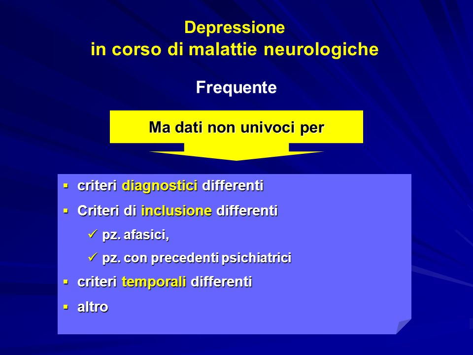 Depressione in corso di malattie neurologiche