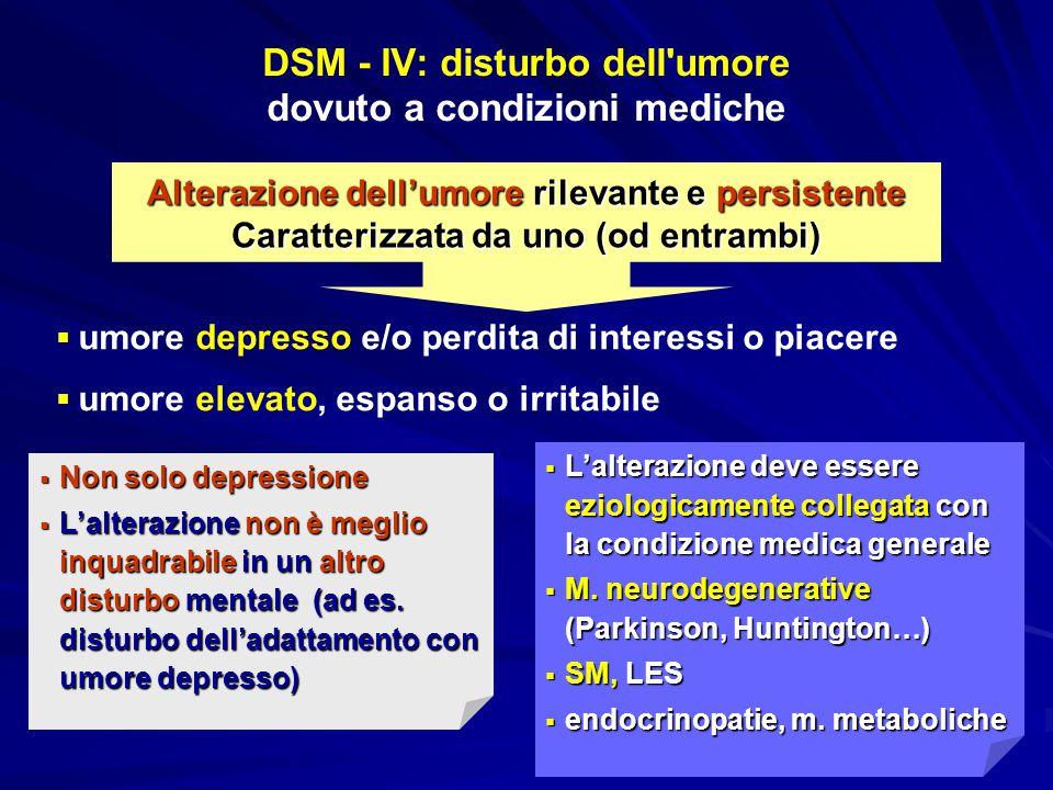 DSM - IV: disturbo dell umore dovuto a condizioni mediche