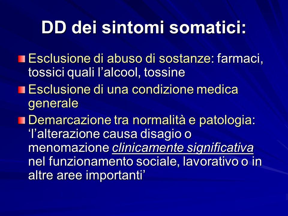 DD dei sintomi somatici: