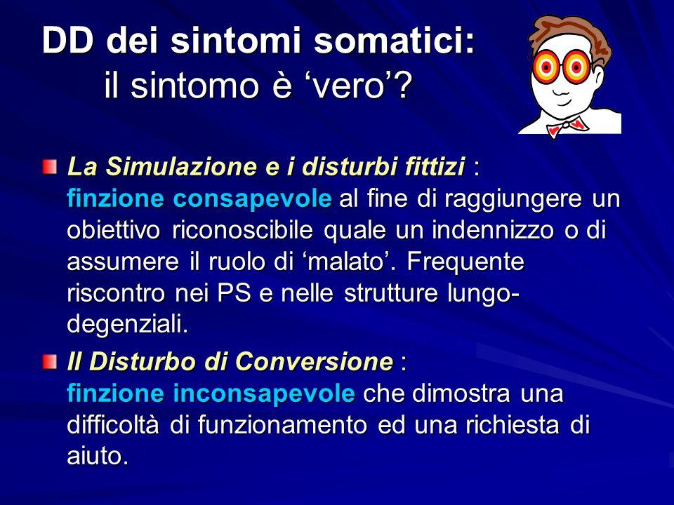 DD dei sintomi somatici: il sintomo è 'vero'