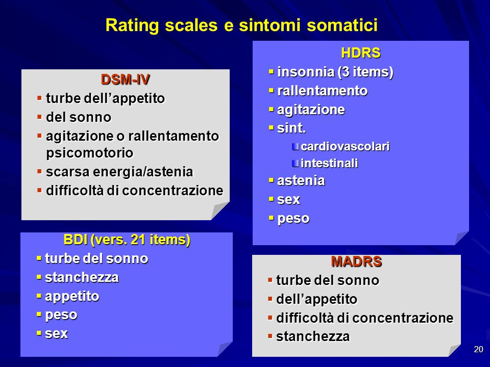 Rating scales e sintomi somatici