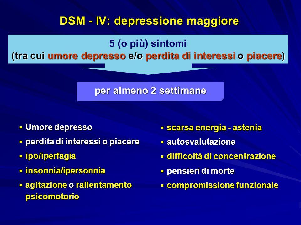 DSM - IV: depressione maggiore