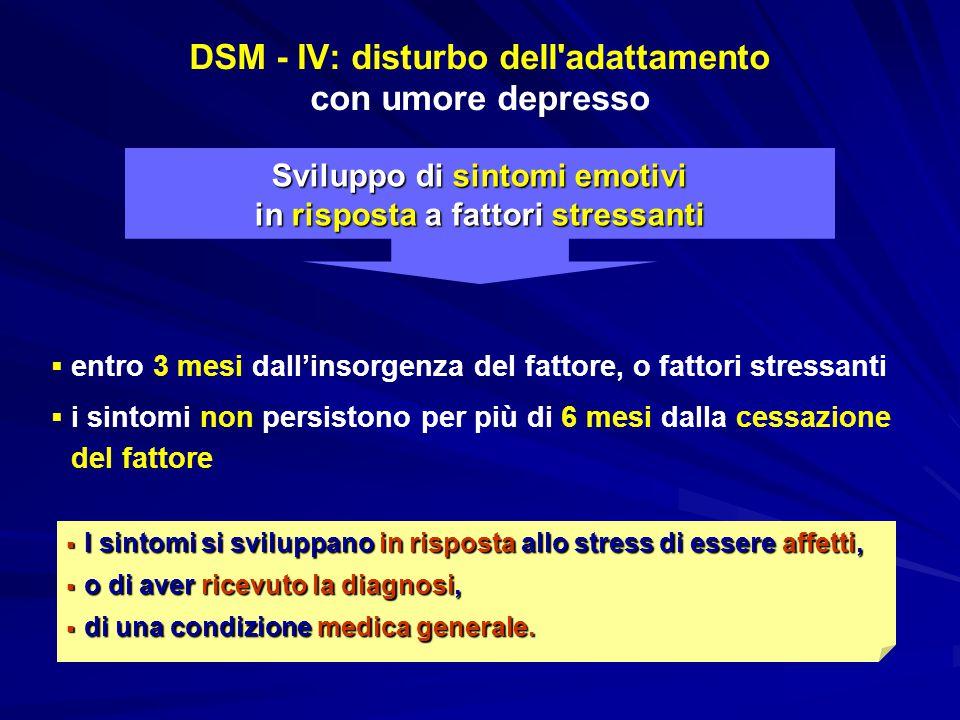 DSM - IV: disturbo dell adattamento con umore depresso
