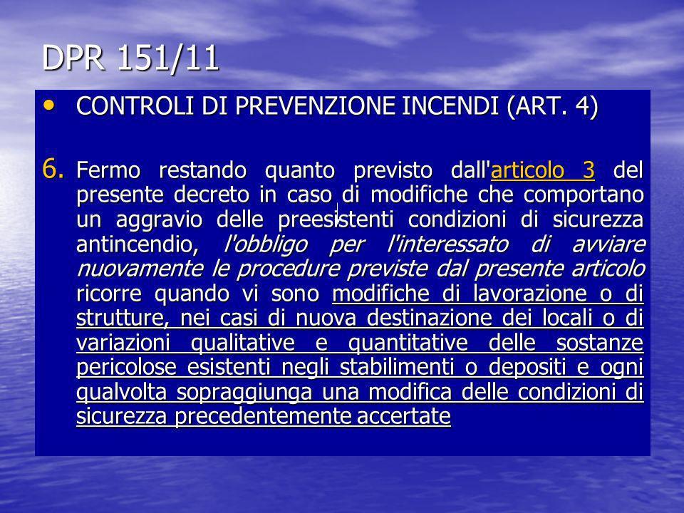 DPR 151/11 CONTROLI DI PREVENZIONE INCENDI (ART. 4)