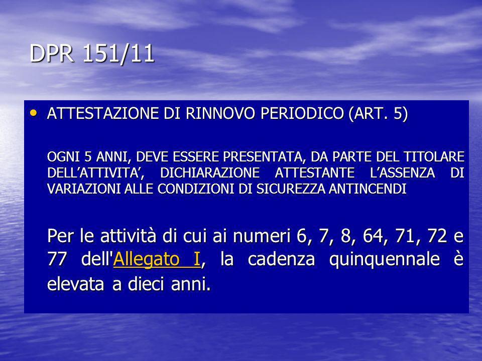 DPR 151/11 ATTESTAZIONE DI RINNOVO PERIODICO (ART. 5)