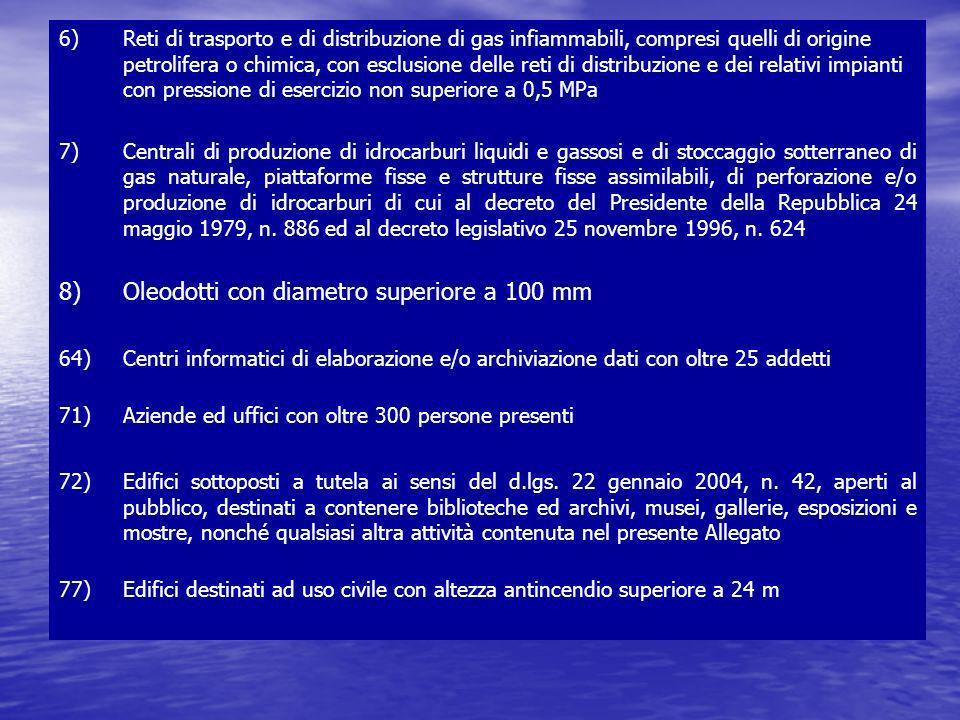 8) Oleodotti con diametro superiore a 100 mm