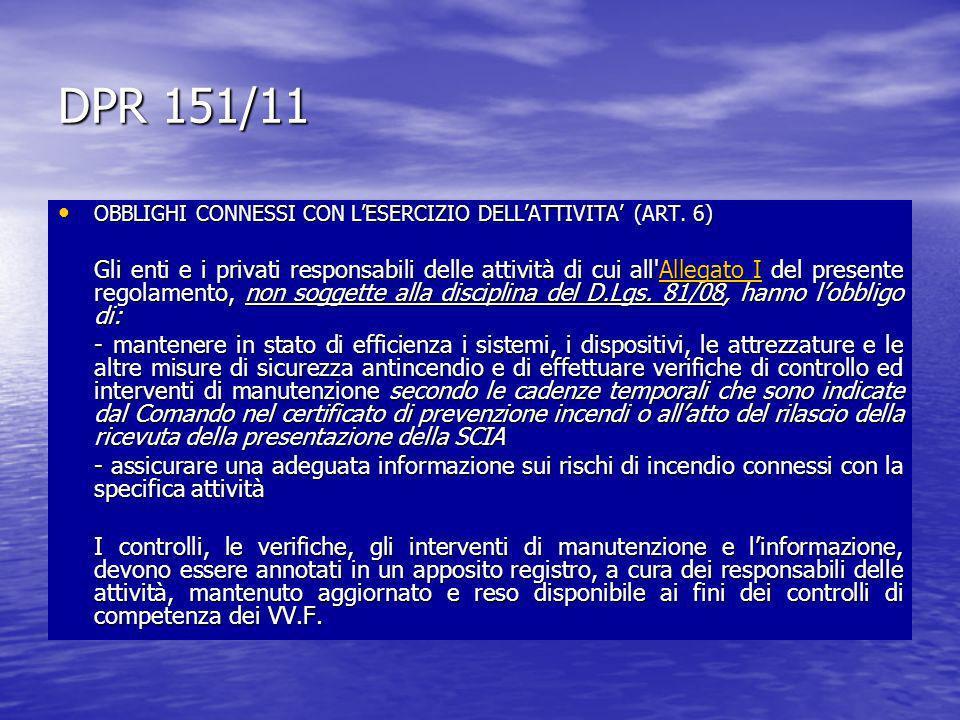 DPR 151/11 OBBLIGHI CONNESSI CON L'ESERCIZIO DELL'ATTIVITA' (ART. 6)