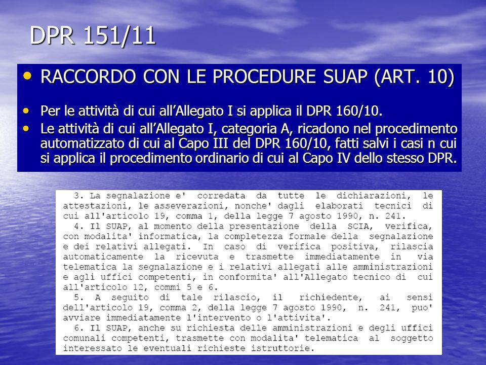DPR 151/11 RACCORDO CON LE PROCEDURE SUAP (ART. 10)