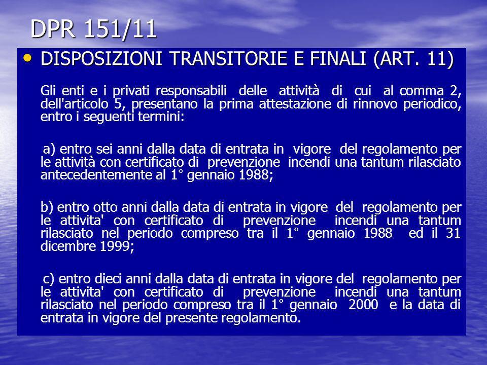 DPR 151/11 DISPOSIZIONI TRANSITORIE E FINALI (ART. 11)
